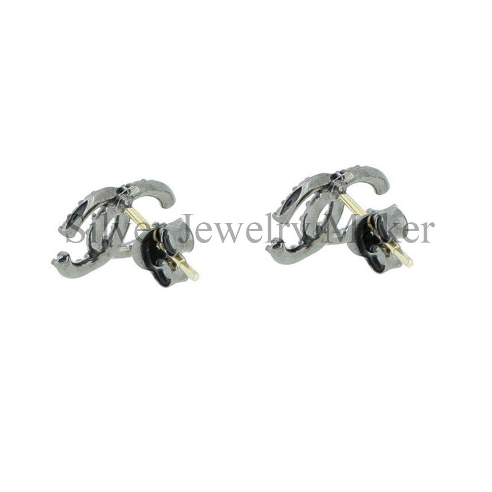 """925 Sterling Silver Double """"C"""" Stud Earrings Natural Pave Diamond Gift Jewelry"""
