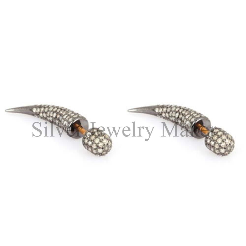 Pave Diamond Horn Stud Earrings 925 Sterling Silver Jewelry