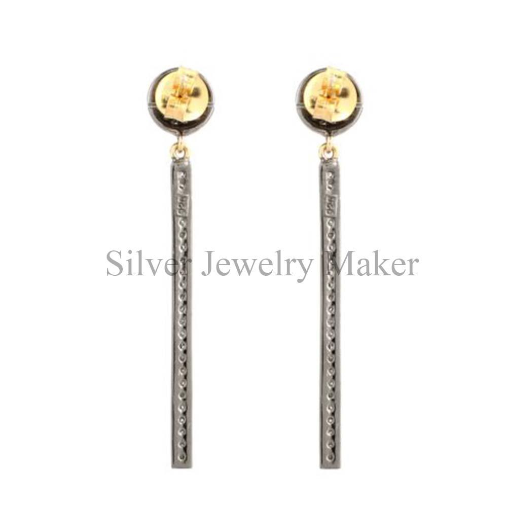 Long Diamond Bar Dangle Earrings Handmade Sterling Silver Jewelry