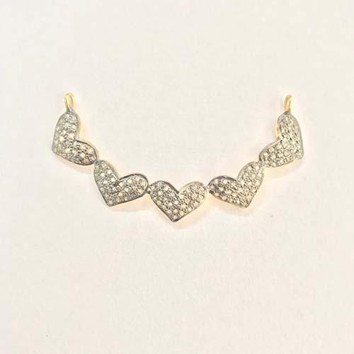 Handmade 925 Sterling Silver Pave Diamond Heart Pendant Jewelry