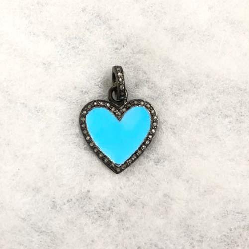 925 Sterling Silver Pave Diamond Blue Enamel Heart Pendant Jewelry