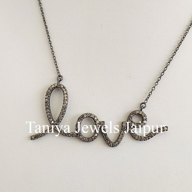 Valentine Day Gift!! 925 Sterling Silver Love Shape Pave Diamond Pendant Jewelry, Love initial Necklace