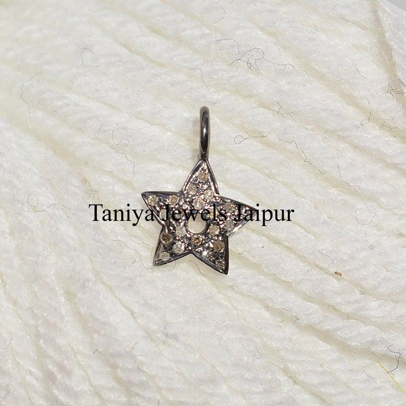 Handmade Pave Diamond Sterling Silver Star Shape Charms Pendant, Diamond Arrow Pendant, Silver Pendant, Silver Jewelry