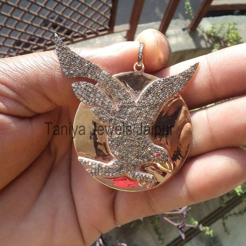 Rose Gold Plating Handmade Sterling Silver Eagle Pave Diamond Pendant Jewelry, Diamond Eagle Pendant, Silver Eagle Pendant Jewelry