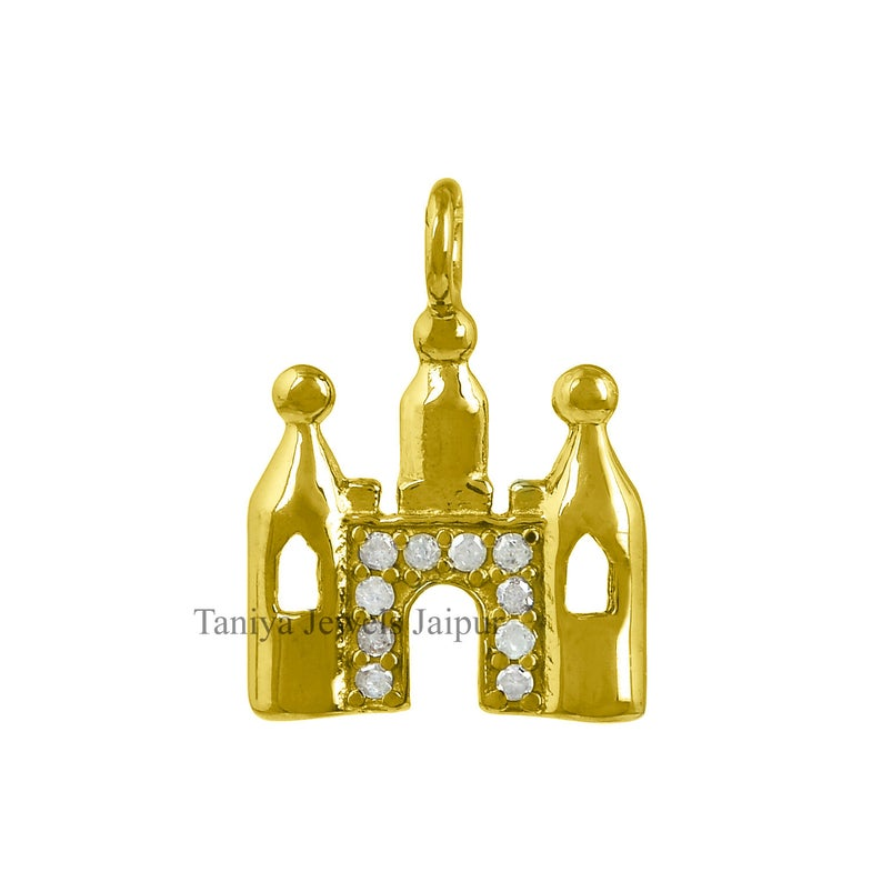 Yellow Gold Plating Pave Diamond Castle Design Charm Pendant .925 Sterling Silver Jewelry, Sterling Silver Diamond Charms Jewelry