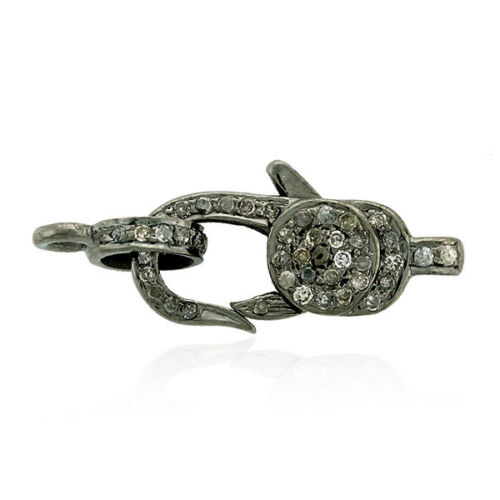 Diamond 925 Sterling Silver Clasp Lock Finding Vintage Look Jewelry