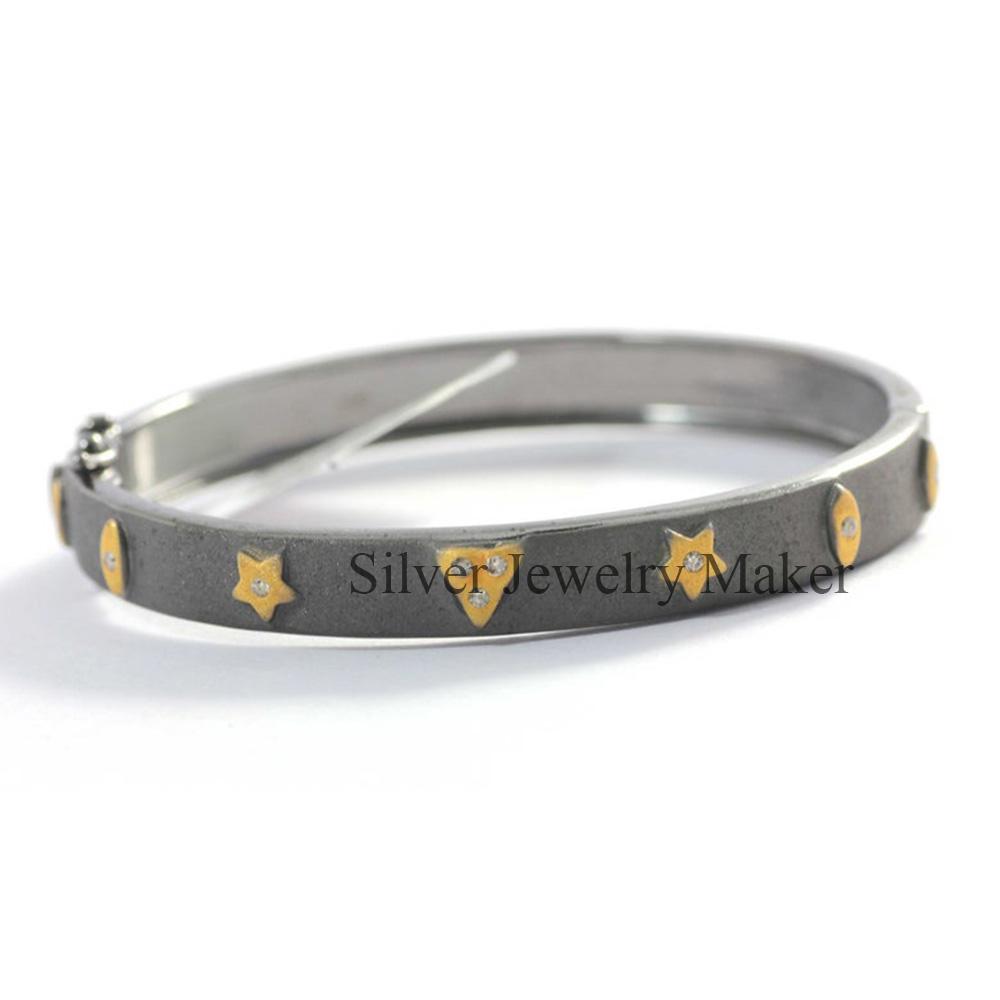 Diamond Silver Bracelet .925 Oxidized Sterling Silver Diamond Bracelet, Genuine handmade pave diamond Bracelet Jewelry