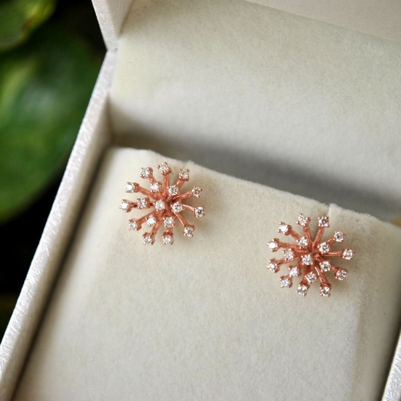 925 Sterling Silver Rose Gold Plating Handmade Star Burst Stud Earrings, Bridal Diamond Earrings, Stud Earrings