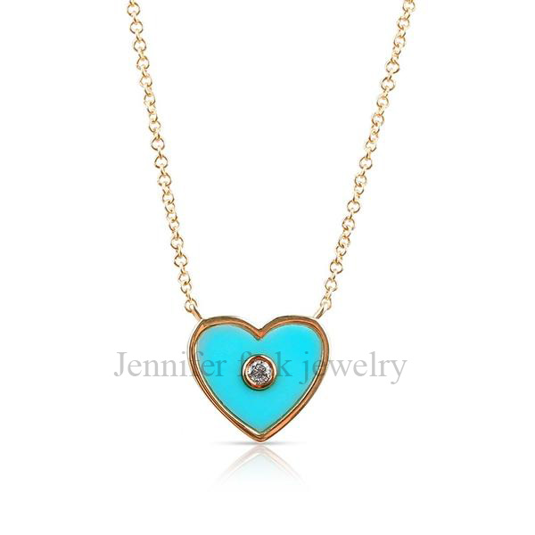 Pave Diamond Handmade Turquoise Enamel Sterling Silver Heart Shape Pendant Jewelry