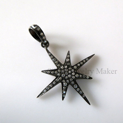 1 pc Sparkling Star Sterling Silver Connector Charm Pendant, Pave Diamond Pendant, White Topaz Pendant