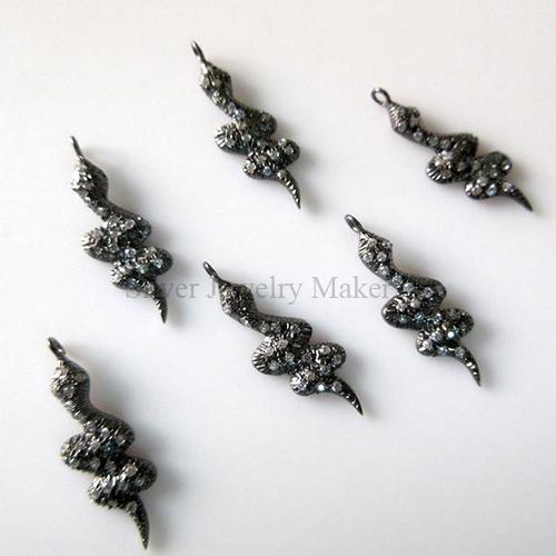 1 pc Snake Sterling Silver Connector Charm Pendant, Pave Diamond Pendant, White Topaz Pendant