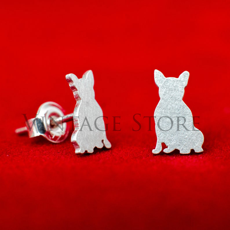 Handmade sitting French Bulldog 925 sterling silver stud earrings. Hand cut tiny dog studs. Animal lovers gift. Dog and Frenchies lovers gift.
