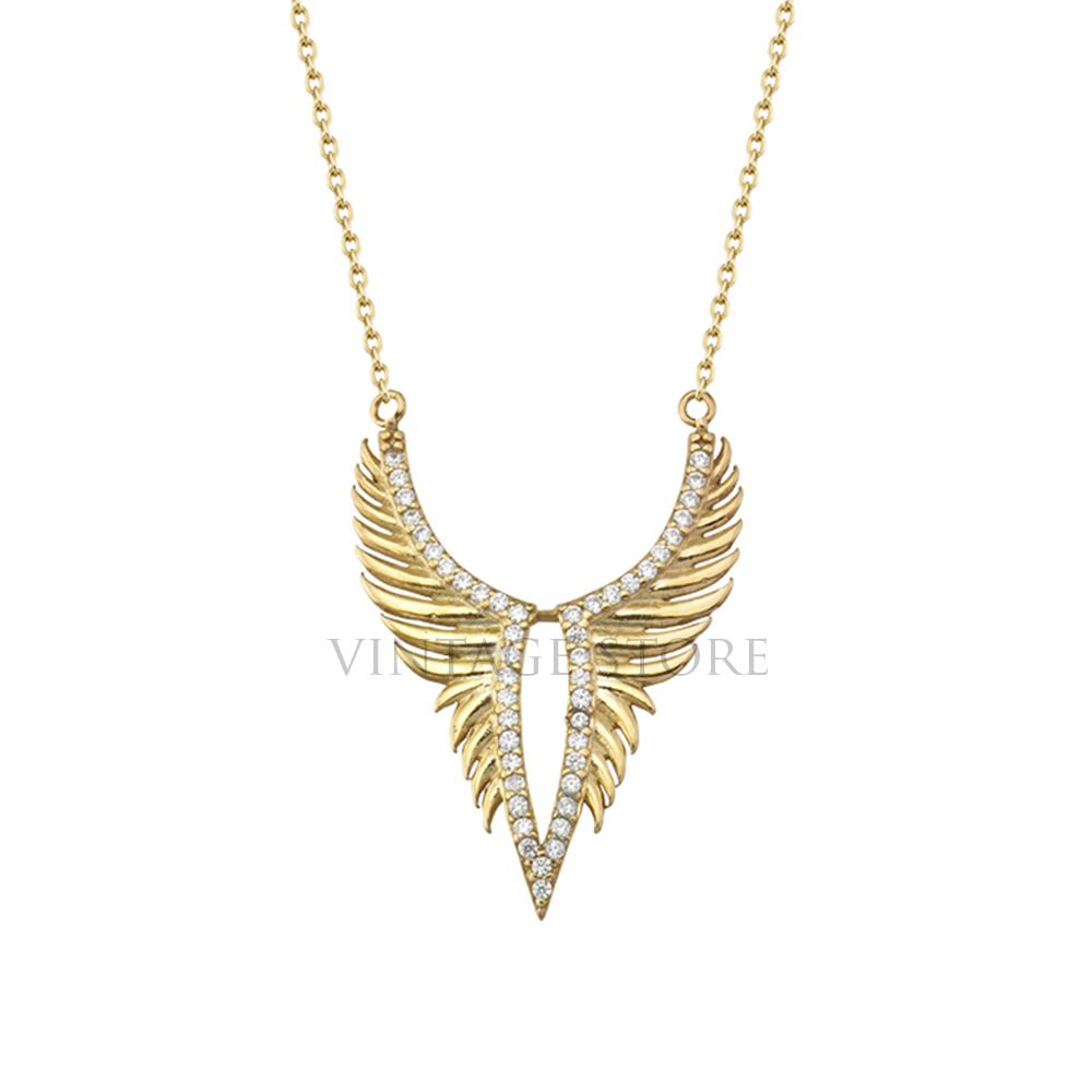 Handmade Sterling Silver Angle Wings Pave Diamond Pendant Jewelry