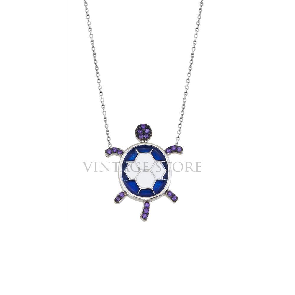 Sterling Silver Blue Purple Turtle Enamel Necklace Wholesale Silver Jewelry