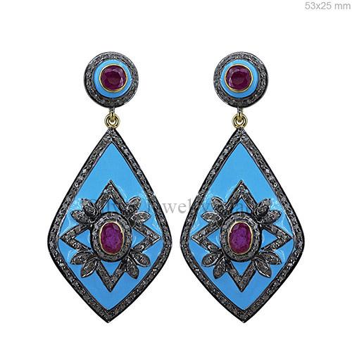 Ruby Gemstone Diamond Pave Dangle Earrings Enamel .925 Sterling Silver Jewelry