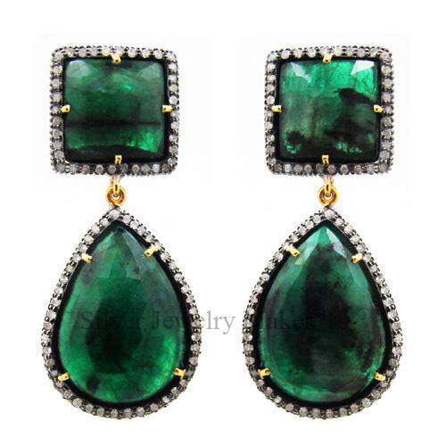 Emerald Gemstone 14 K Gold Dangle Drop Earrings .925 Silver Pave Diamond Jewelry