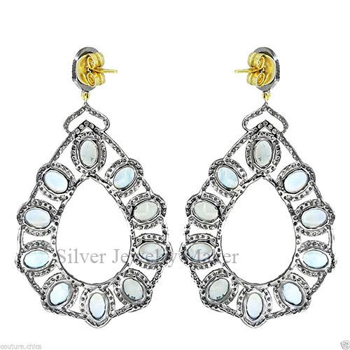Rainbow Moonstone .925 Silver Pave 5.36ct Diamond Dangle Drop Earrings 14 K Gold