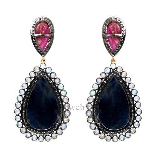 14k Gold SaApphire Dangle Drop Earrings 925 Silver Diamond Pave Gemstone Jewelry