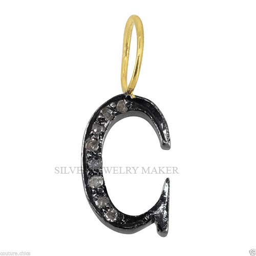 Solid 925 Sterling Silver Pave Diamond C Initial Letter Finding Handmade Jewelry