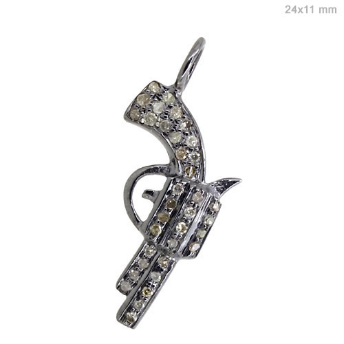.925 Sterling Silver Gun Pendant Natural Diamond Pave Vintage Style Fine Jewelry