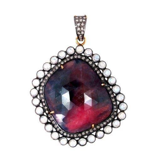 Sapphire Gemstone Pendant 14k Gold Pave Diamond 925 Silver Vintage Style Jewelry