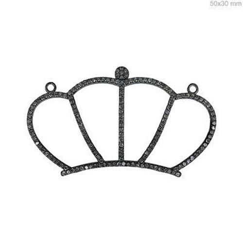 1.8 Ct Diamond Crown Connector Pendant Sterling 925 Silver Micro Pave Jewelry