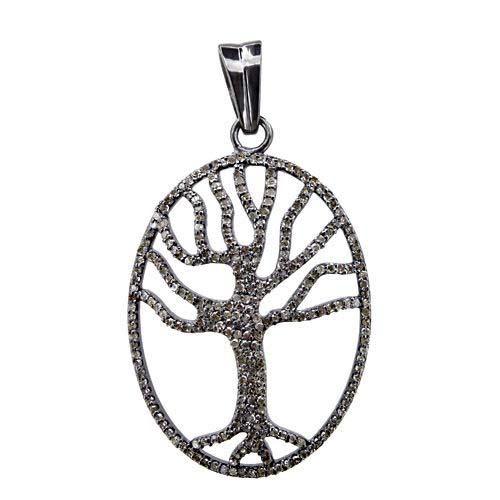 1.59 Ct Diamond Pave Designer Life Of Tree Oval Pendant 925 Silver Jewelry
