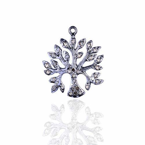 Natural Diamond Pave Life OF Tree Charm Pendant Sterling Silver Fine Jewelry