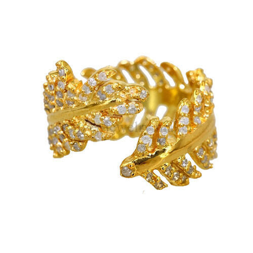 Handmade Diamond Pave Solid 14K Yellow Gold Feather Ring Vintage Gift Jewelry