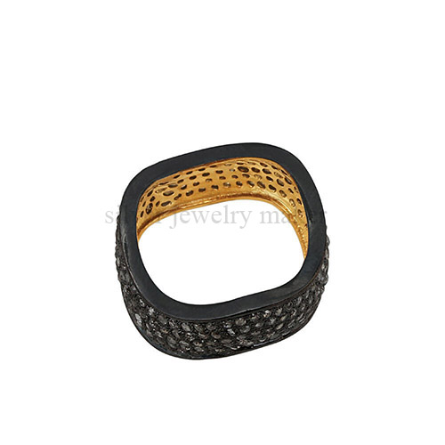 Natural Pave Diamond Wave Design Band Ring 925 Sterling Silver Vintage Style