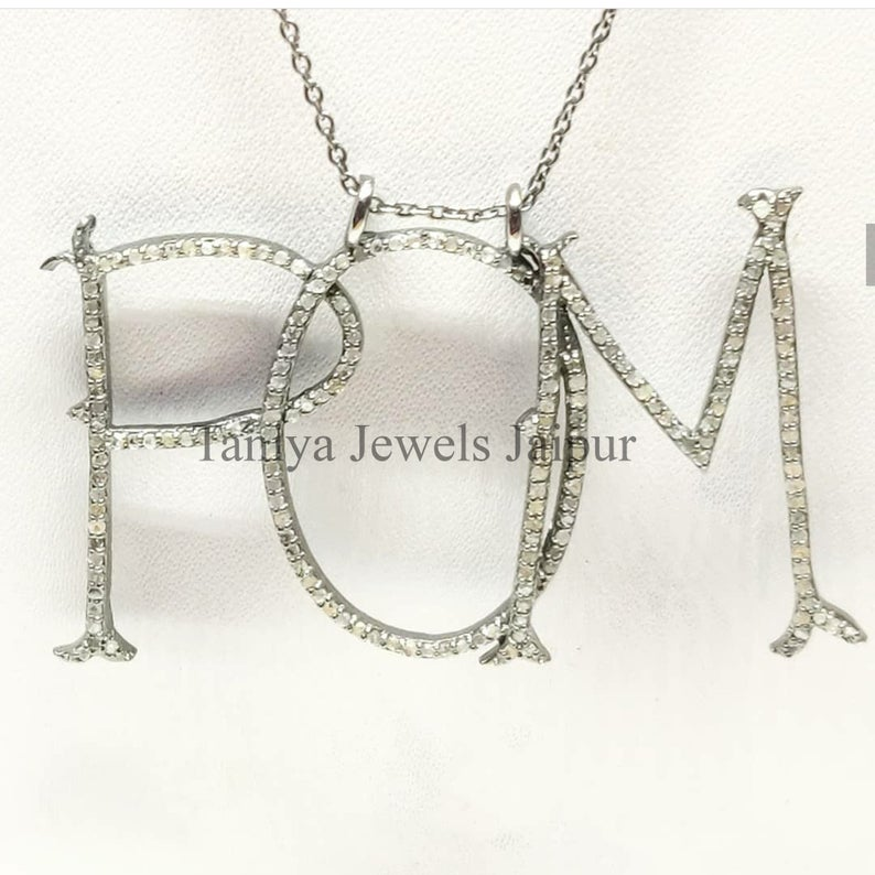 Handmade Sterling Silver POM Shape Alphabet Initial Pave Diamond Charms Pendant Jewelry, Pave Diamond Monogram Charm Pendant Jewelry
