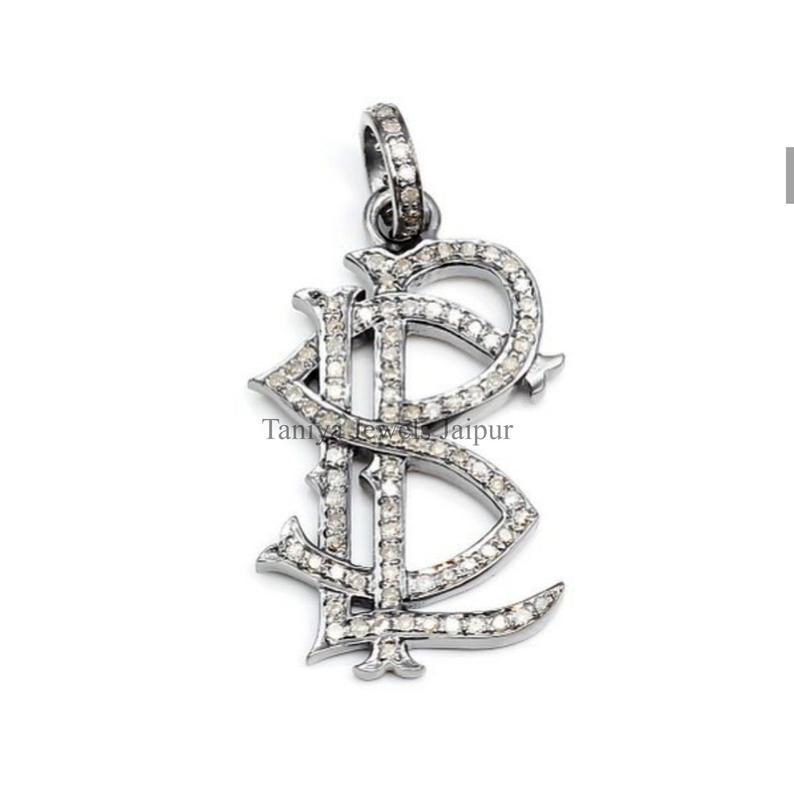 Handmade Sterling Silver LPS Shape Alphabet Initial Pave Diamond Charms Pendant Jewelry, Pave Diamond Monogram Charm Pendant Jewelry