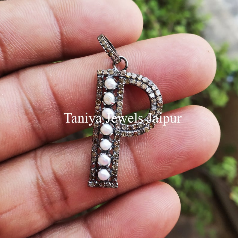 Handmade Sterling Silver P Shape Alphabet Initial Pearl Pave Diamond Charms Pendant Jewelry, Pave Diamond Monogram Charm Pendant Jewelry