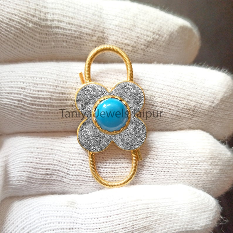 Pave Diamond Handmade Sterling Silver Flower Shape Turquoise Padlock Jewelry, Silver Padlock Jewelry
