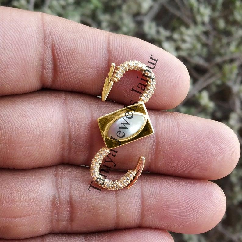 Natural Pearl Pave Diamond Handmade Sterling Silver Padlock Jewelry, Diamond Padlock Jewelry, Silver Padlock Jewelry
