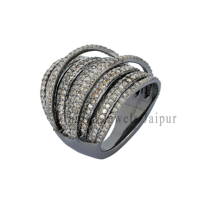 Pave Diamond Multi Layer Ring 925 Sterling Silver Jewelry, Silver Pave Diamond Ring Jewelry