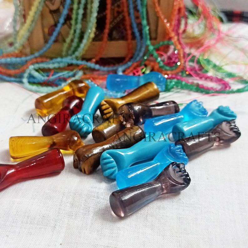 Wholesale Tiger Eye Gemstone Figa Hand Pendant Jewelry, Figa Hand Charms, Gemstone Figa Pendant Jewelry