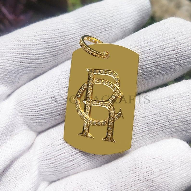 Handmade Sterling Silver Alphabet Initial Monogram Pave Diamond Charms Pendant Jewelry, Pave Diamond Monogram Charm Pendant Jewelry