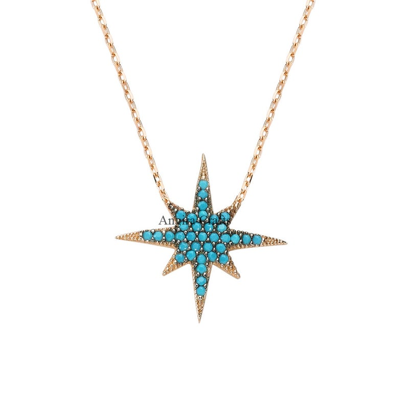 Sterling Silver Nano Turquoise Single Northstar Rose Gold Plating Pendant Jewelry