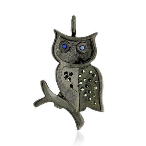 0.22ct Tsavorite Sapphire Sterling Silver Owl Pendant Jewelry