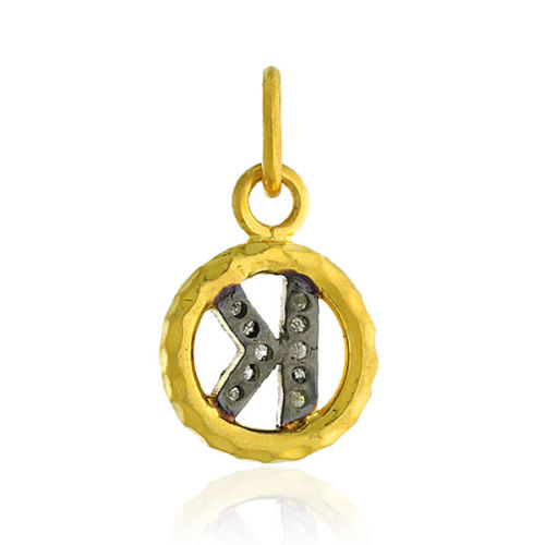 """0.04ct Diamond 14kt Yellow Gold .925 Sterling Silver Initial """"K"""" Pendant Jewelry"""