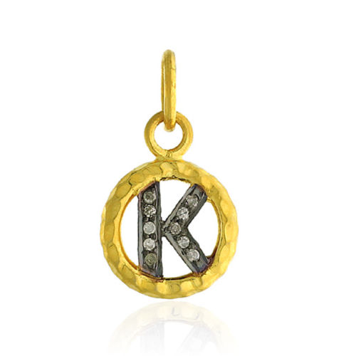 0.04ct Diamond 14kt Yellow Gold .925 Sterling Silver Initial