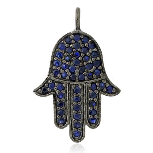 0.45 ct Blue Sapphire .925 Sterling Silver Hamsa Charm Pendant Jewelry