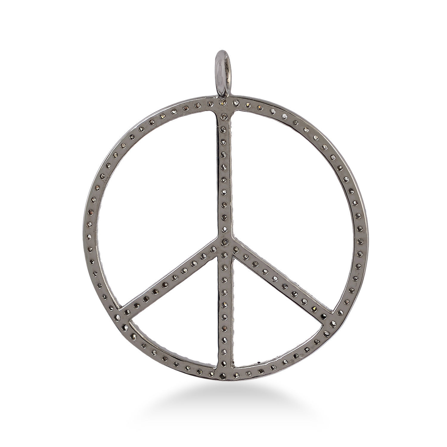 0.41ct Pave Diamond Handmade Peace Sign Pendant 925 Sterling Silver Gift Jewelry