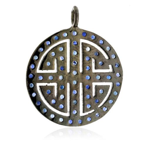 1.1 ct Blue Sapphire 925 Sterling Silver Handmade Designer Pendant Women Jewelry