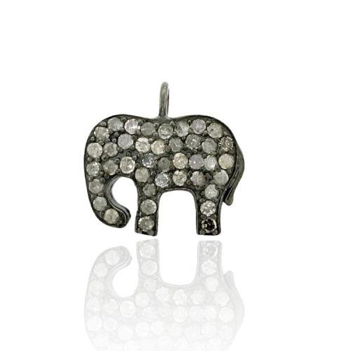 0.69ct Pave Diamond 925 Sterling Silver Elephant Charm Pendant Jewelry