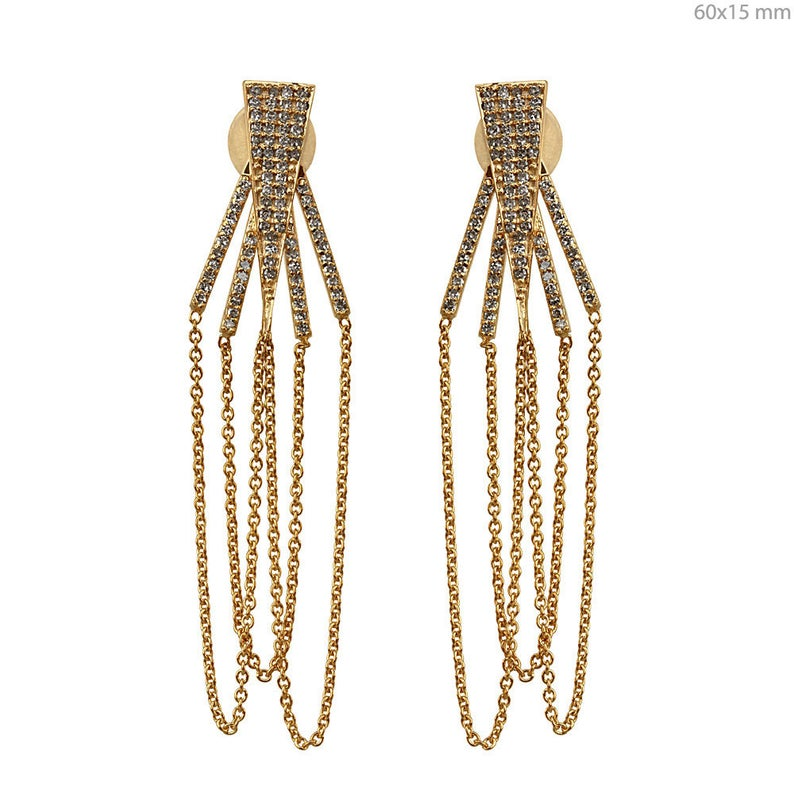 Solid 18k Yellow Gold Chain Dangle Earrings 1.02 Ct Genuine Pave Diamond Fine Jewelry, Pave Diamond Earrings, Gold Earrings, Christmas Gifts