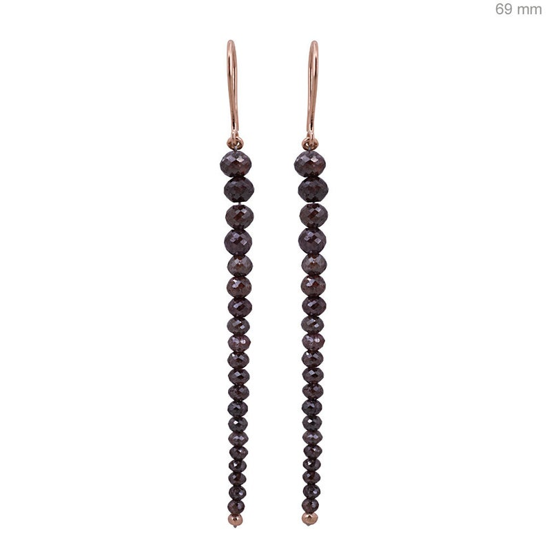 69 MM Long Natural 9.75 Ct Brown Diamond Beads Dangle Earrings Solid 18k Rose Gold Fine Jewelry French Wire Hook Earrings, Christmas Gifts