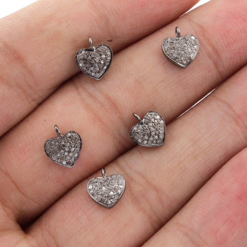 Pave Diamond Tiny Heart Charm Pendant