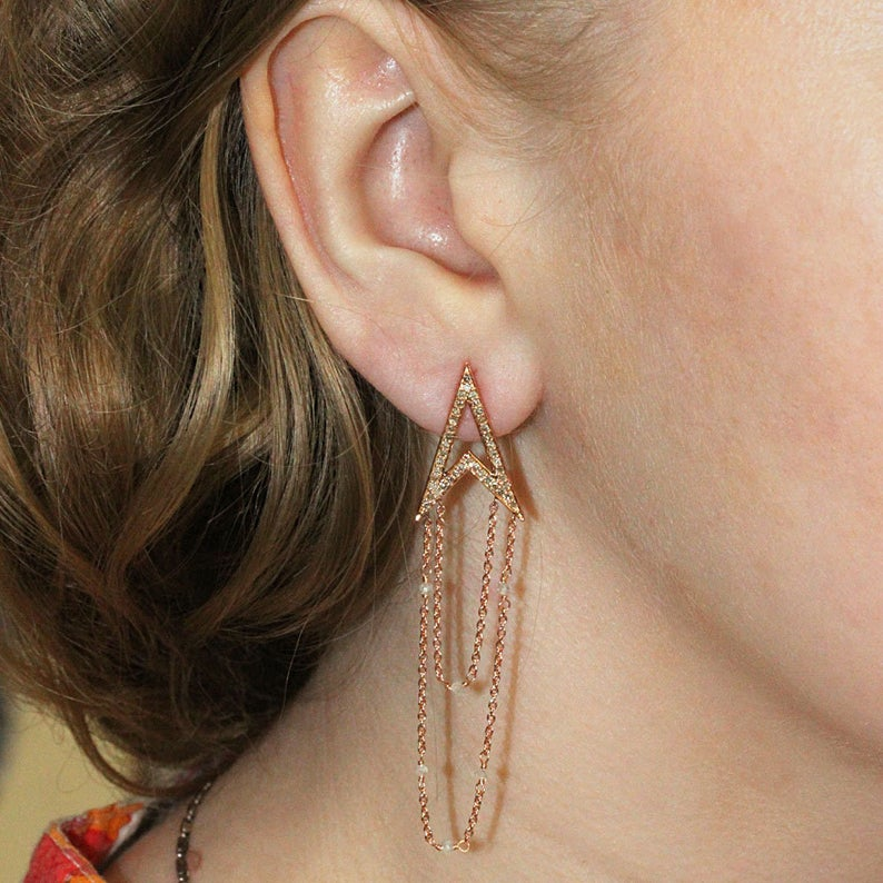 Solid 18k Rose Gold Chain Dangle Earrings 1.08 Ct Genuine Pave Diamond Fine Jewelry, Pave Diamond Earrings, Gold Earrings, Christmas Gifts